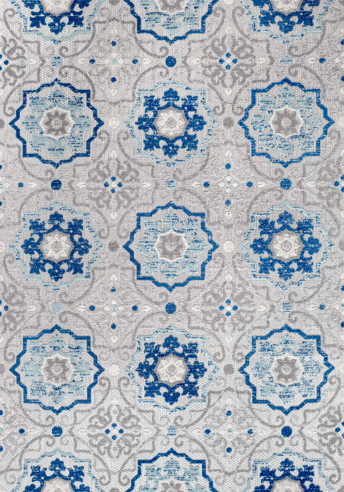 Mediterranean Medallion Indoor/Outdoor Blue/Gray 8' x 10' Area Rug