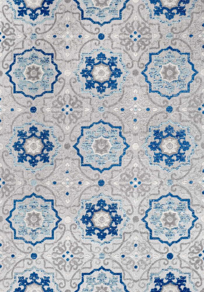 Mediterranean Medallion Indoor/Outdoor Blue/Gray 4' x 6' Area Rug