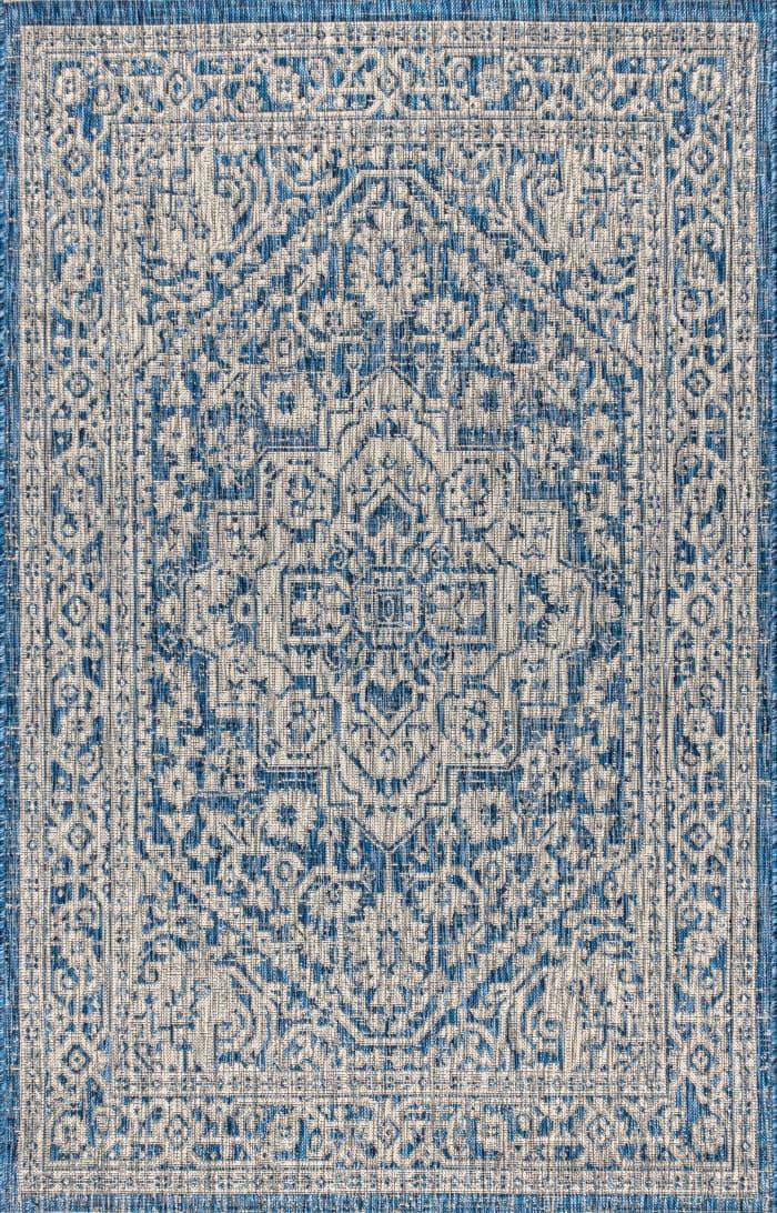 Textured Weave Indoor/Outdoor Navy/Gray 8' x 10' Area Rug