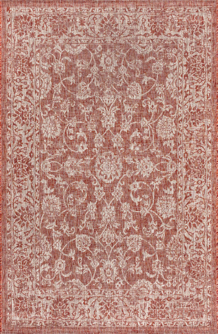 Bohemian Textured Weave Floral Indoor/Outdoor Red/Taupe 5' x 8' Area Rug