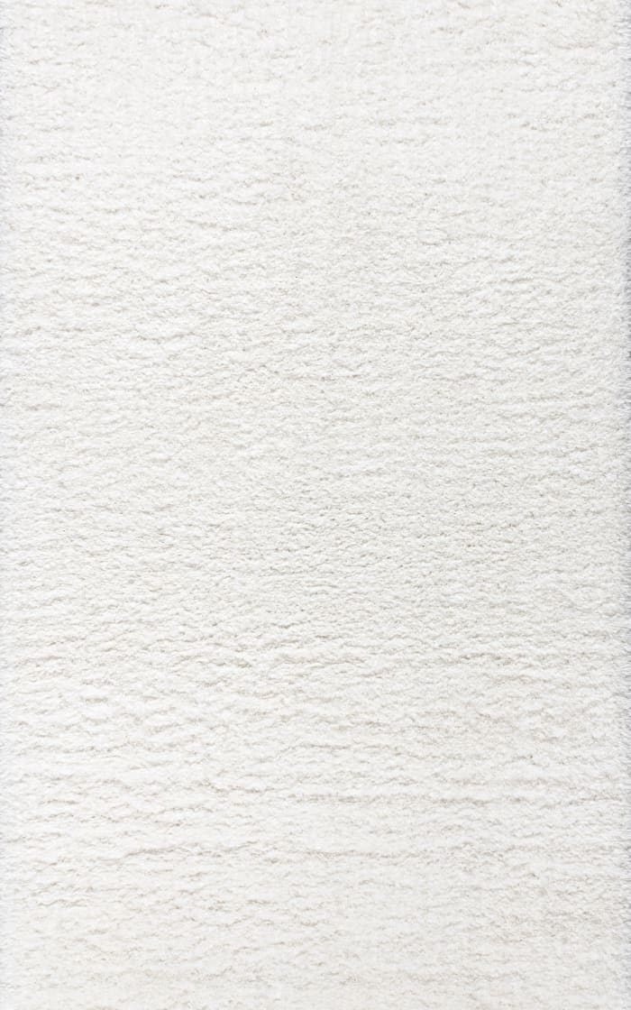Solid Plush Shag Ivory 8' x 10' Area Rug