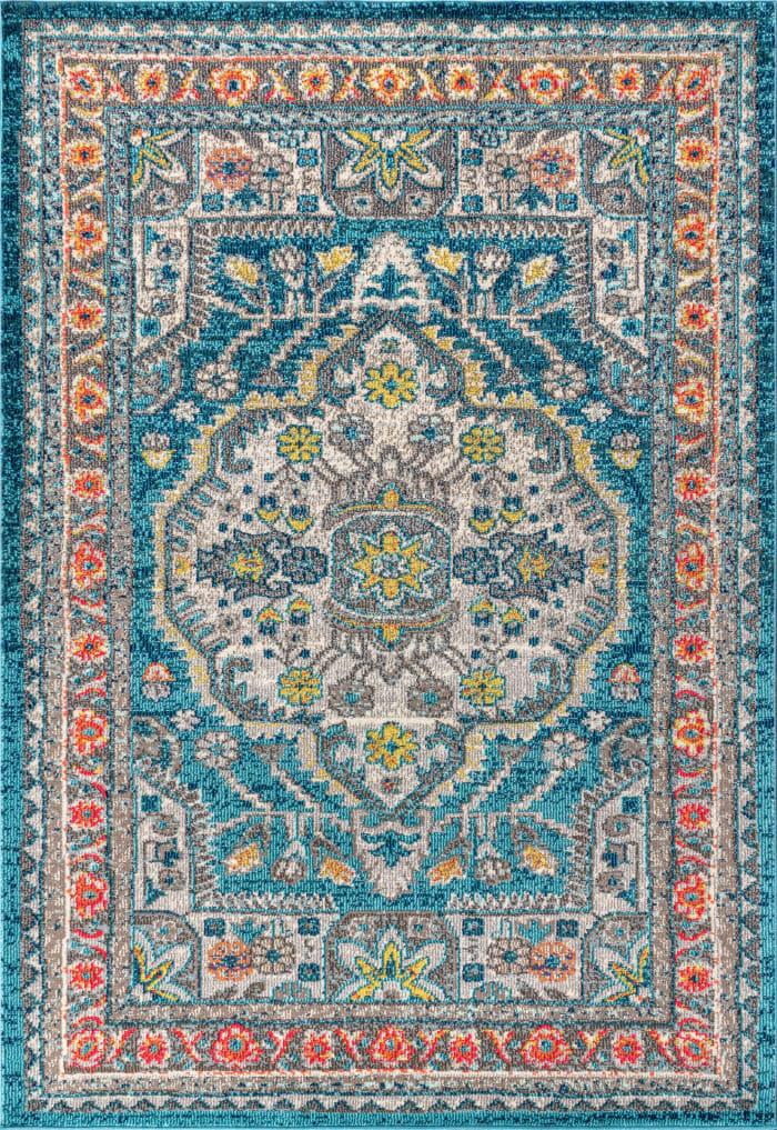 Bohemian FLAIR Boho Vintage Medallion Blue/Yellow 4' x 6' Area Rug
