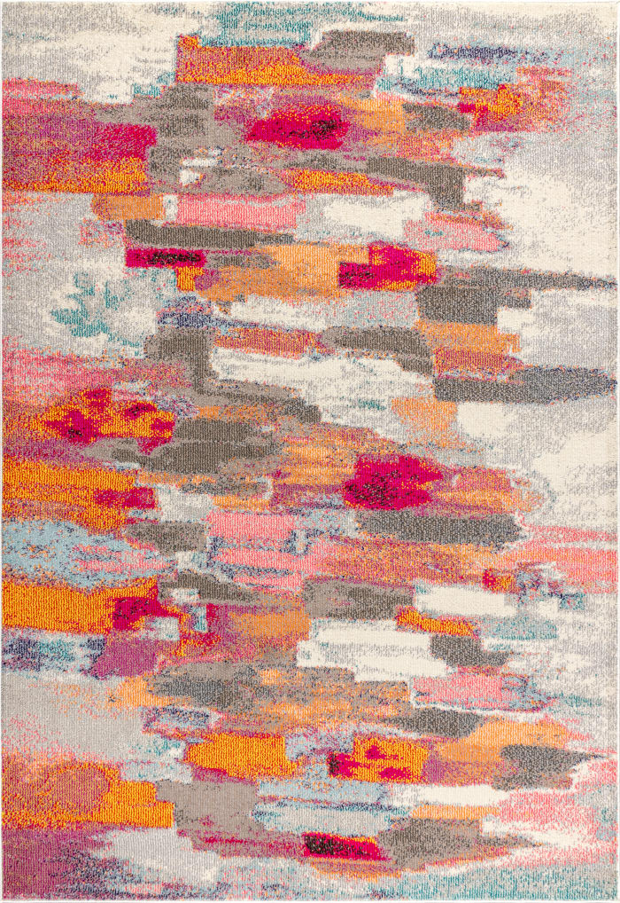 Contemporary Modern Abstract Brushstroke Cream/Pink 8' x 10' Area Rug