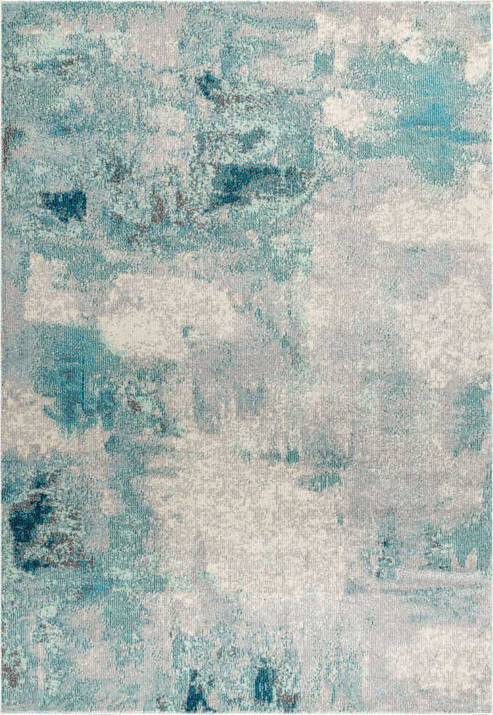 Contemporary Modern Abstract Vintage Cream/Blue  4' x 6' Area Rug