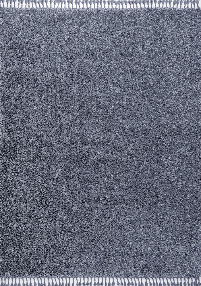 Shag Plush Tassel Denim Blue  5' x 8' Area Rug