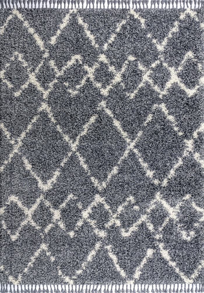 Shag Plush Tassel Moroccan Tribal Geometric Trellis Denim Blue/Cream 5' x 8' Area Rug