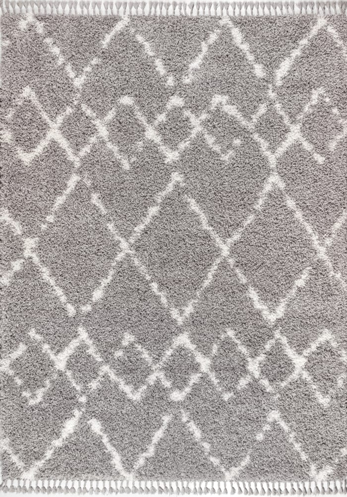 Shag Plush Tassel Moroccan Tribal Geometric Trellis Grey/Cream Area Rug