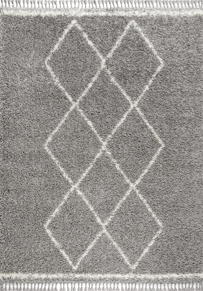 Shag Plush Tassel Moroccan Tribal Geometric Trellis Grey/Cream 8' x 10' Area Rug