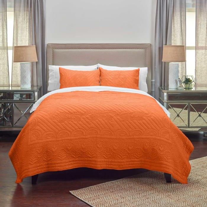 Moroccan Fling Orange Quilt, queen