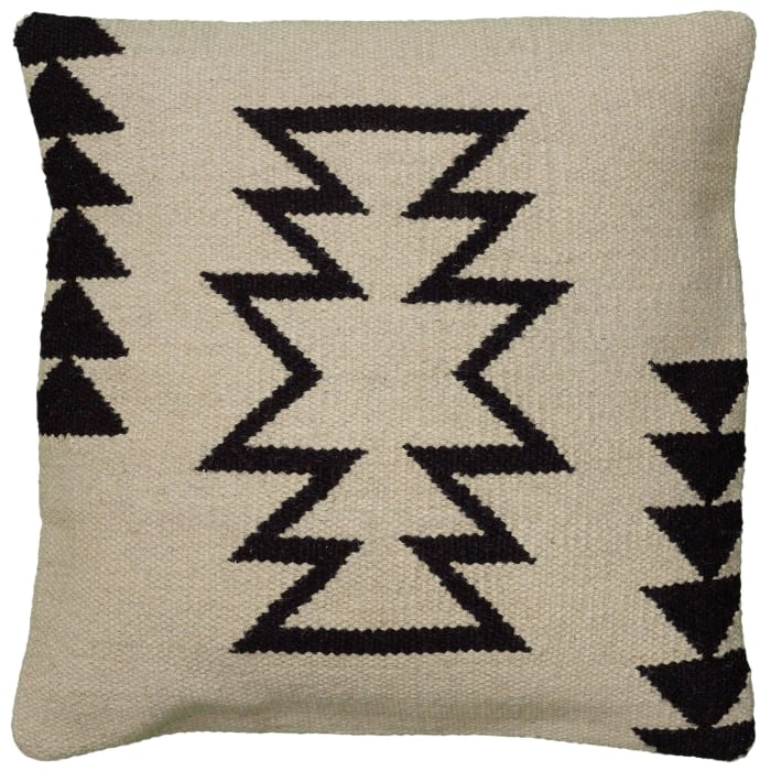 Arrow Motif With Arrow Stripes Beige/Black Filled Pillow
