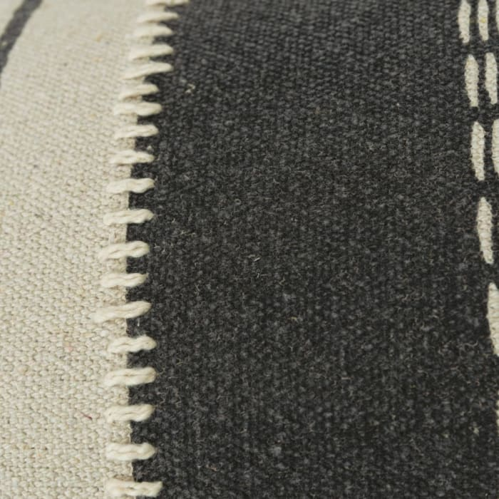 Canvas Stripe Charcoal and Ivory Pillow Cover