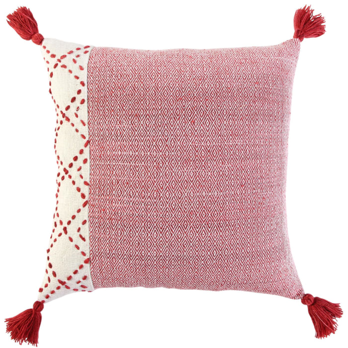 Color Block Tasseled Ivory/Red Poly Filled Pillow