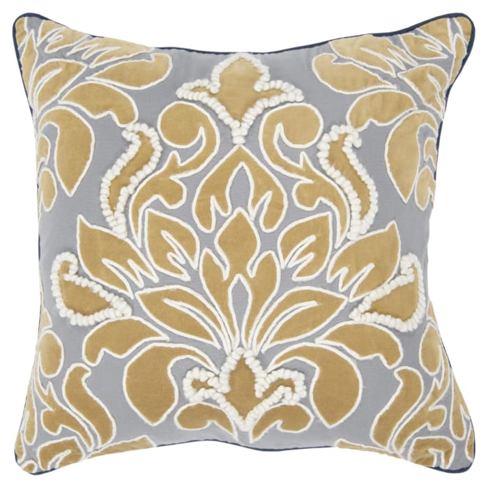 Damask Ivory/Gray Pillow Cover