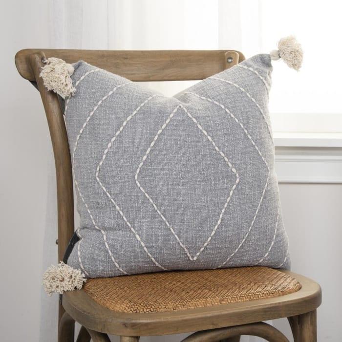 Diamond Tasseled Gray Pillow Cover