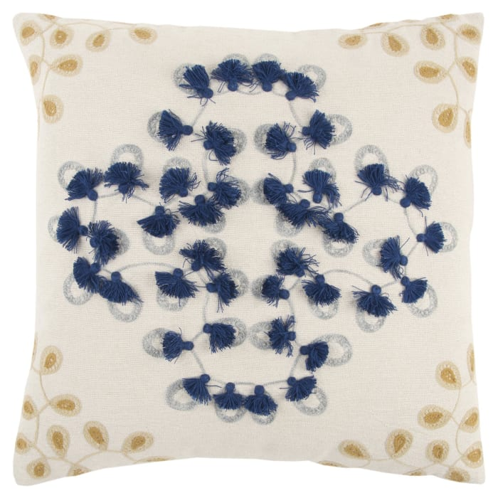 Embroidered Floral Blue/Natural Poly Filled Pillow