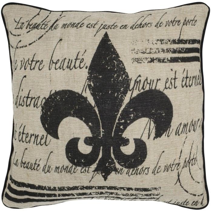 Fleur De Lis Cotton Beige Pillow Cover
