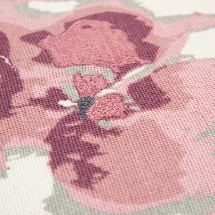 Floral Burlap White/Pink Pillow Cover