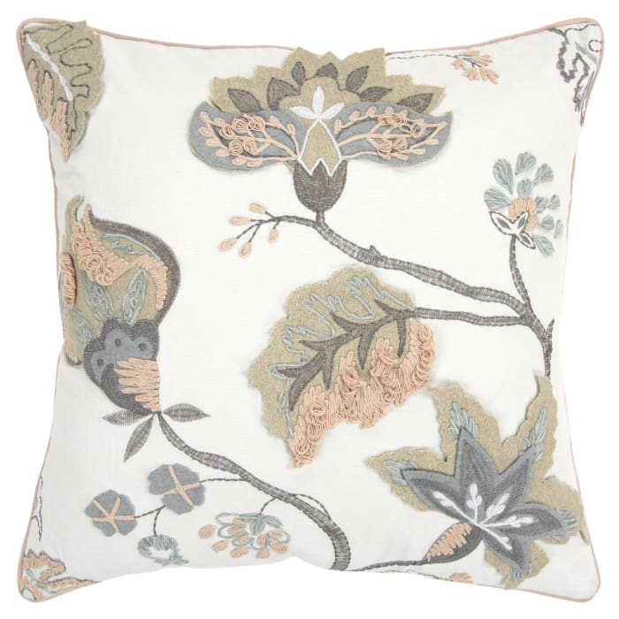 Floral Heavy Embroidered Pillow Cover