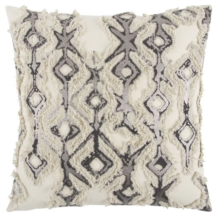 Geometric Silver/Ivory Filled Pillow