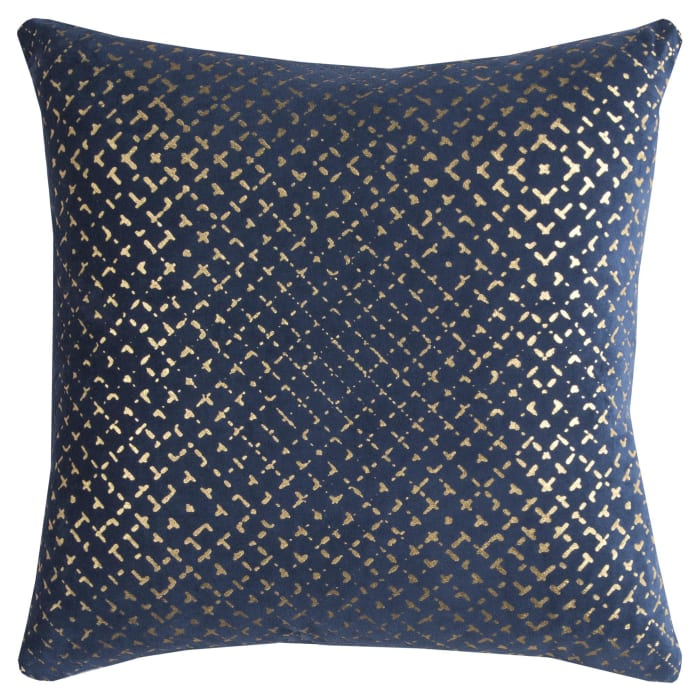 Geometric Cotton Gold Foil Navy Pillow Cover