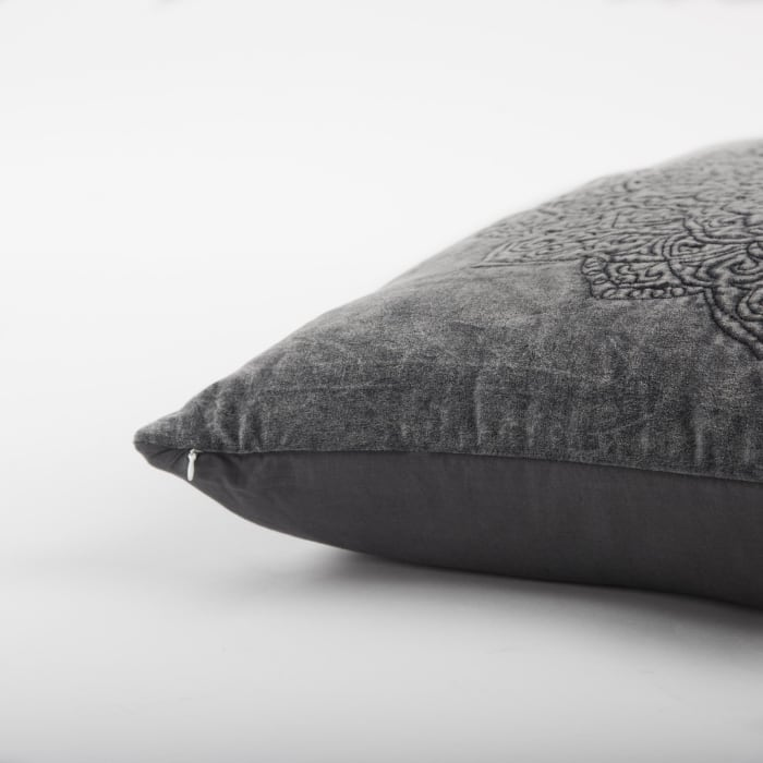 Medallion Dark Gray Pillow Cover