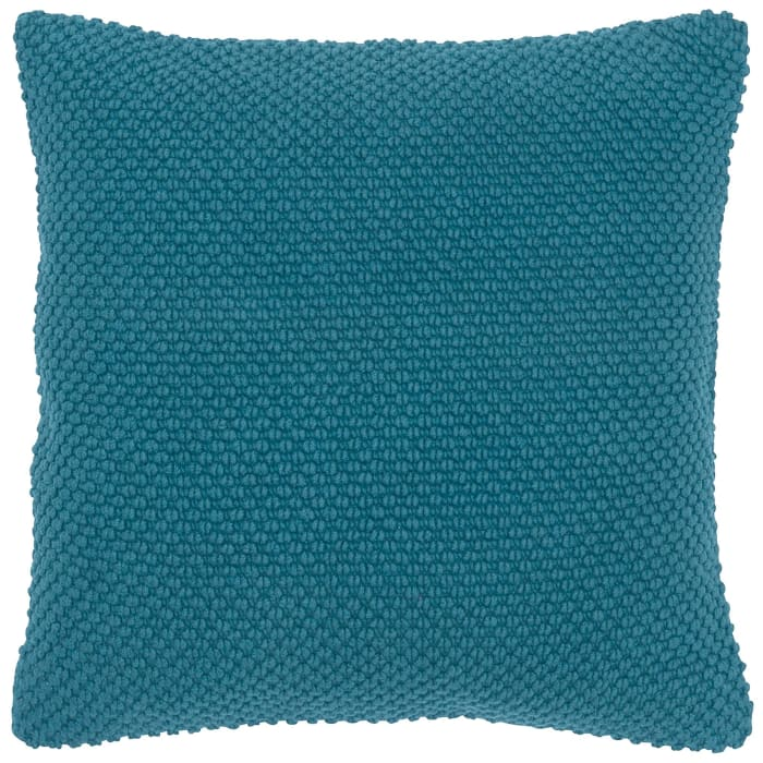Solid Nubby Woven Dark Teal Pillow Cover