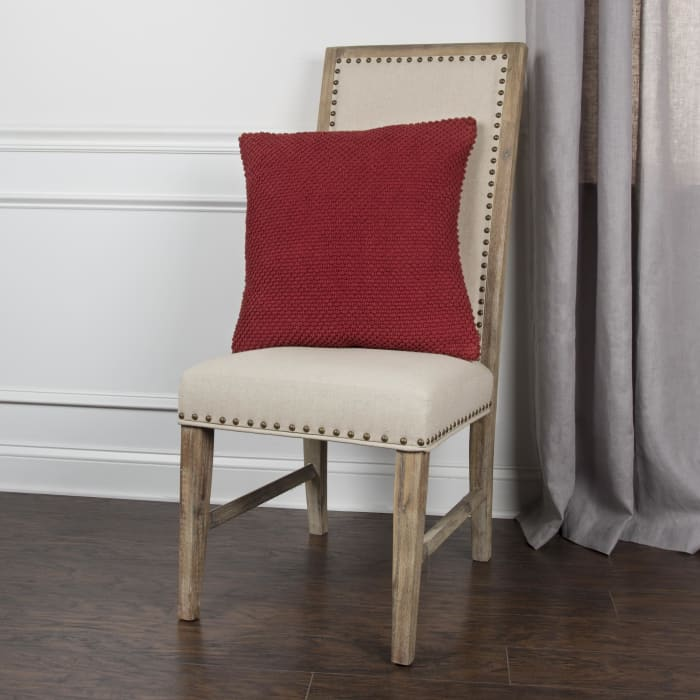 Solid Nubby Woven Red Pillow Cover