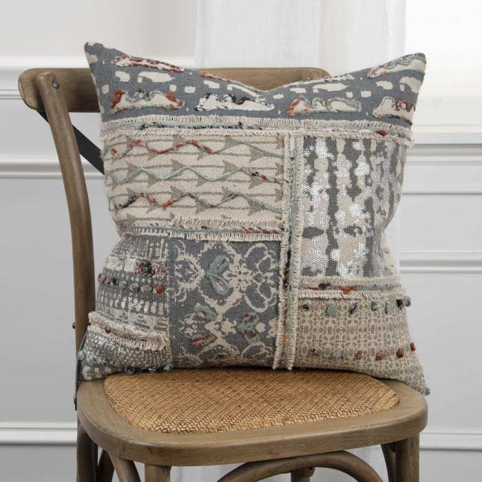 Patchwork Canvas Natural/Gray Pillow Cover