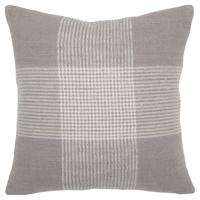 Plaid Woven Gray/White Pillow Cover