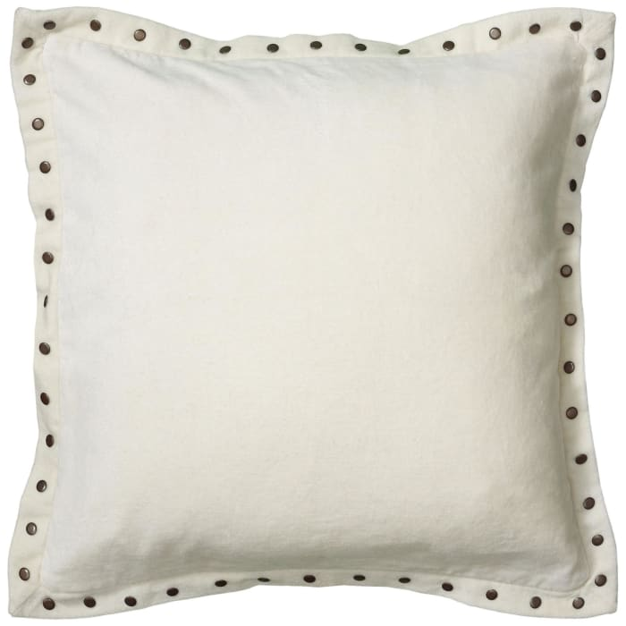 Solid With Bronze Grommets Neutral Pillow Cover