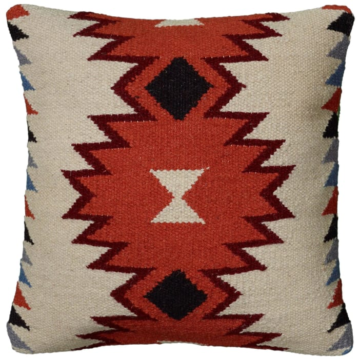 South Western Orange Ivory Pillow Cover