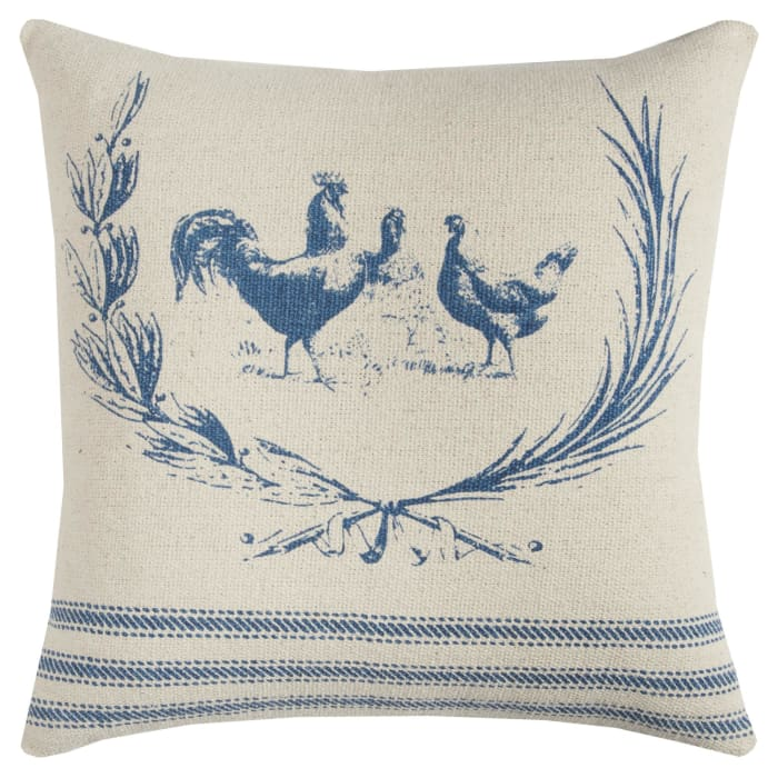 Rooster Scene Pillow Cover