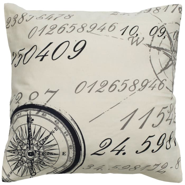 Script With Compass Ivory Filled Pillow