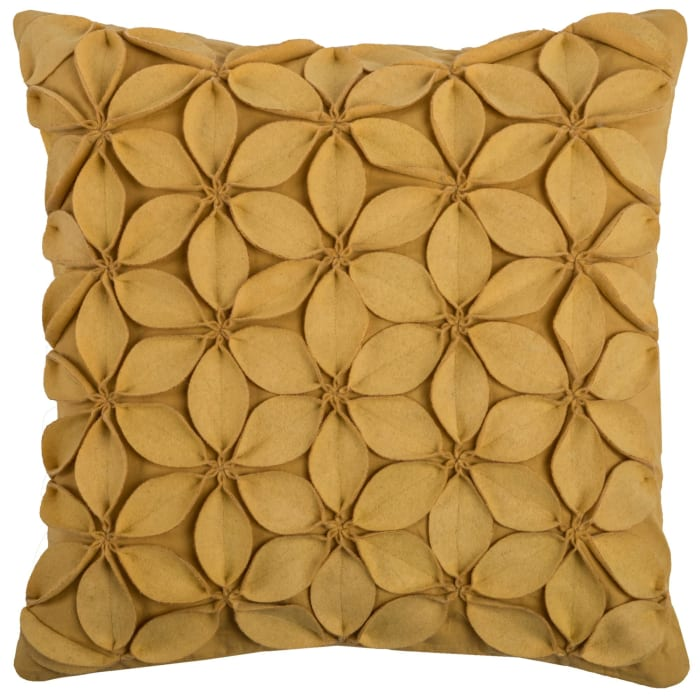Solid Botanical Petals Cotton Yellow Poly Filled Pillow