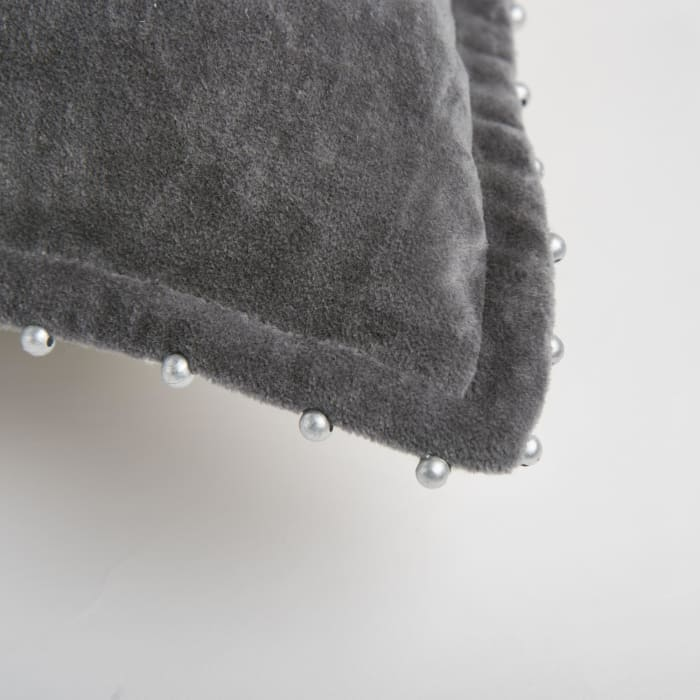 Solid With Beaded Edge Cotton Dark Gray Pillow Cover