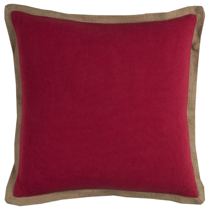 Solid With Jute Flange Red Pillow Cover
