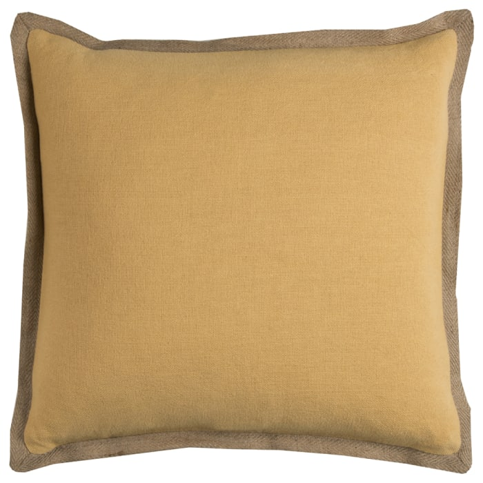 Solid With Jute Flange Yellow Poly Filled Pillow