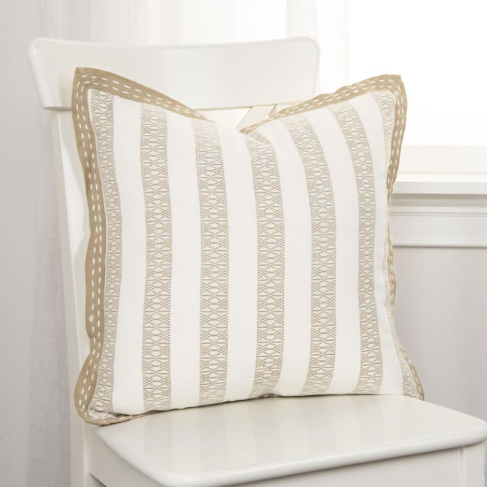 Stripe Cotton Khaki Ivory Pillow Cover