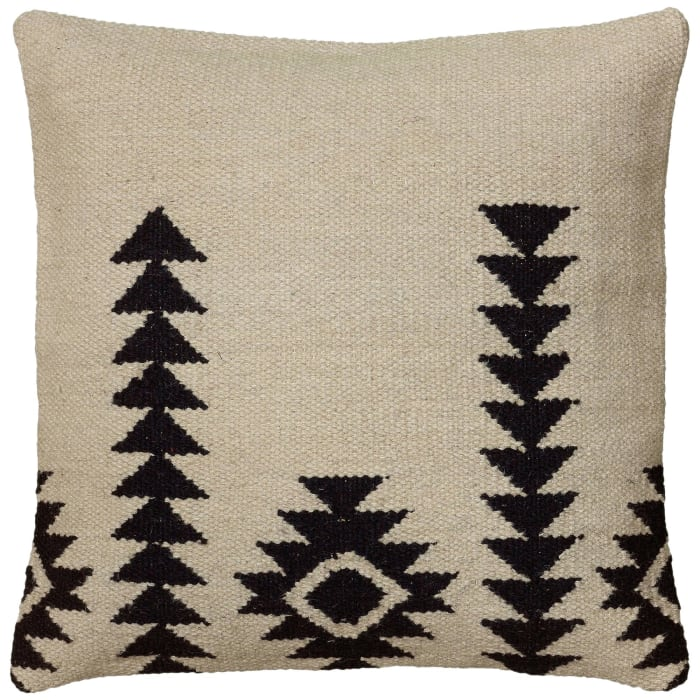 Stripe Woven Wool Ivory/Black Pillow Cover
