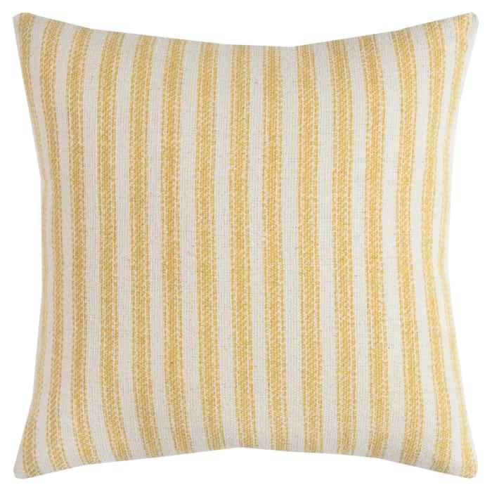 Ticking Stripe Yellow/ Natural Poly Filled Pillow
