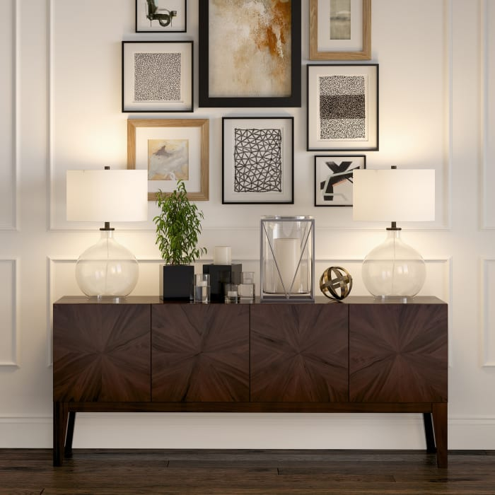 Laelia Clear Glass Table Lamp with Blackened Bronze Accents