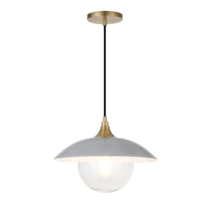 Alvia Cool Gray Metal and Clear Glass Pendant with Brass Accents