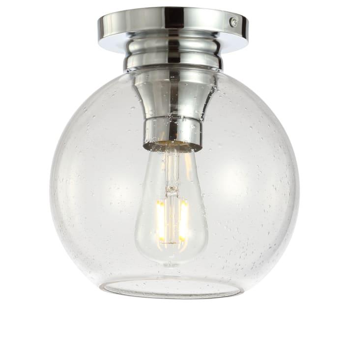 Metal/Bubbled Glass LED Flush Mount, Chrome