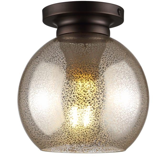 Metal/Bubbled Glass LED Flush Mount, Mercury Silver/Oil Rubbed Bronze