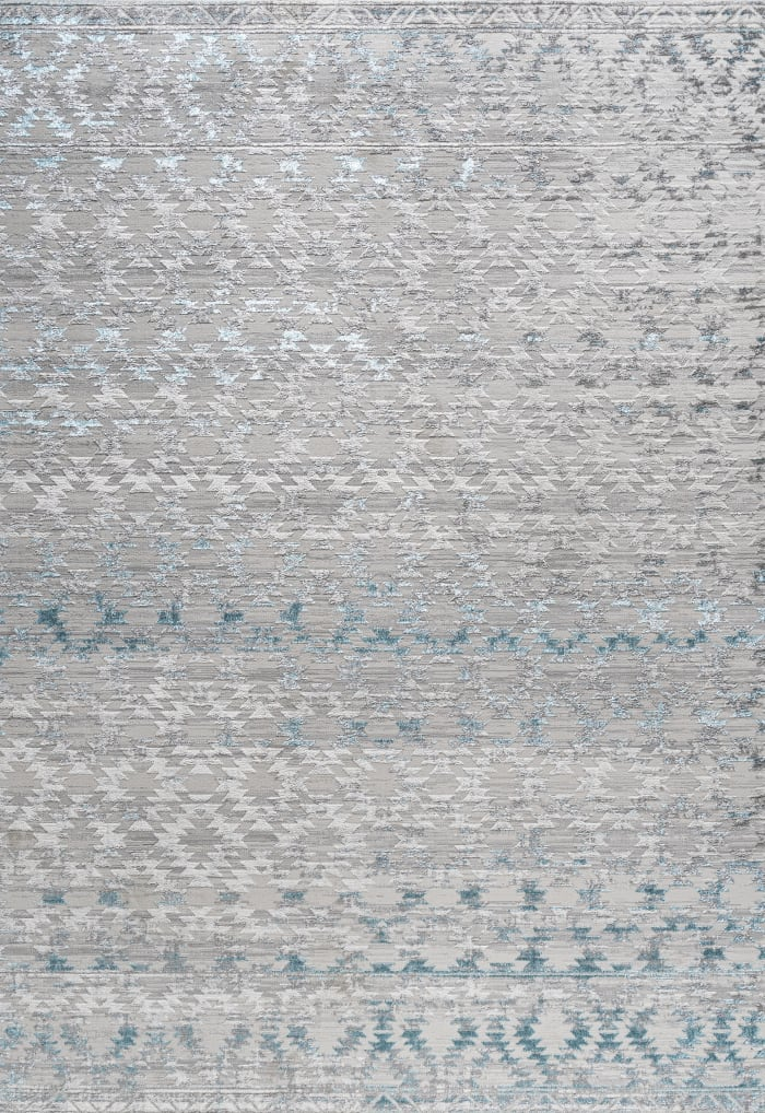 Ancient Faded Trellis Gray/Turquoise Area Rug