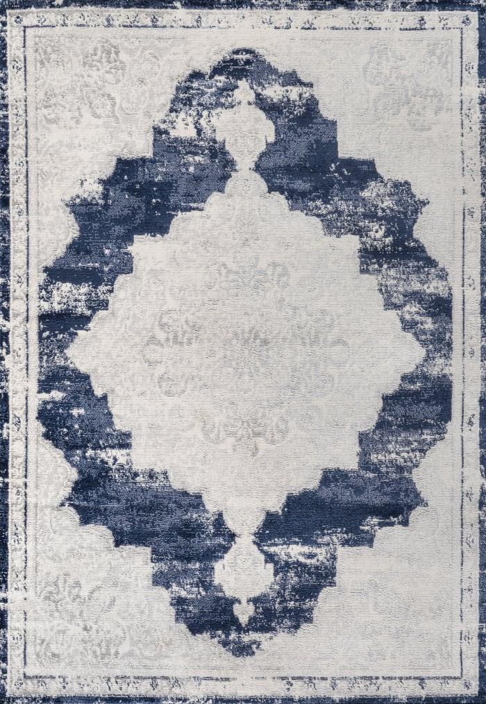 Alhambra Ornate Medallion Modern Ivory/Navy 4' x 6' Area Rug