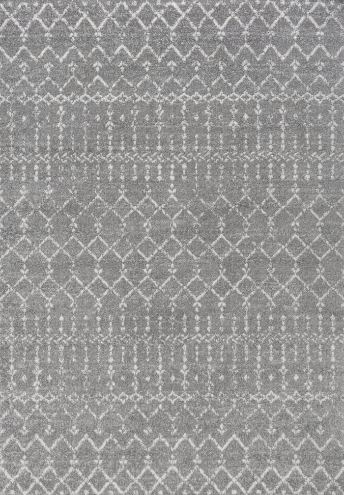 Moroccan HYPE Boho Vintage Diamond Gray/Ivory 4' x 6' Area Rug