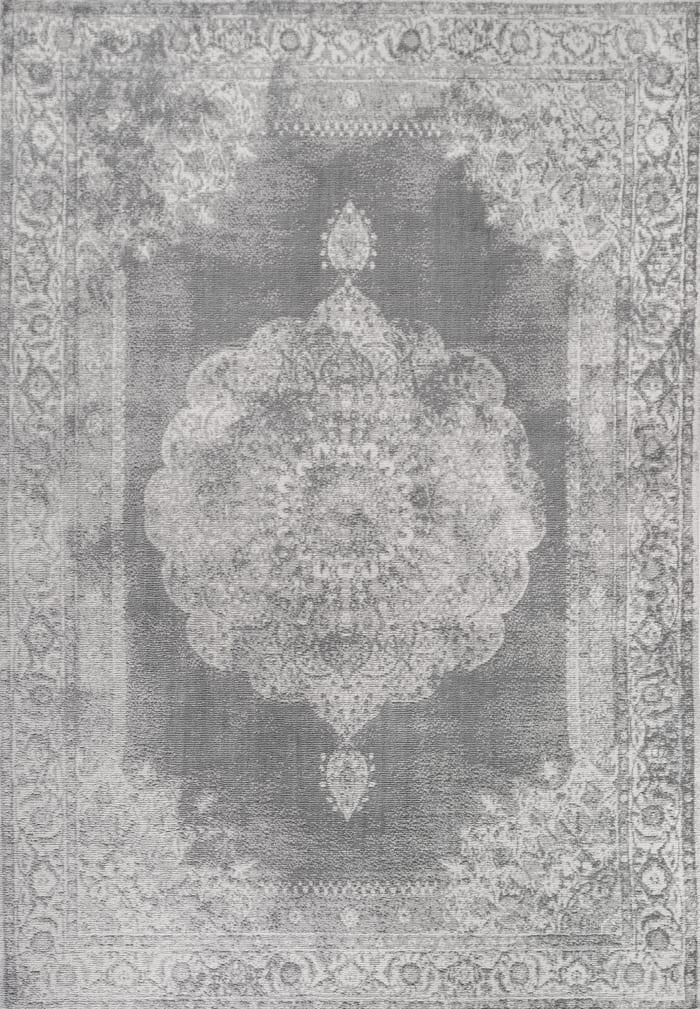 Cottage Medallion Gray/Dark Gray 4' x 6' Area Rug