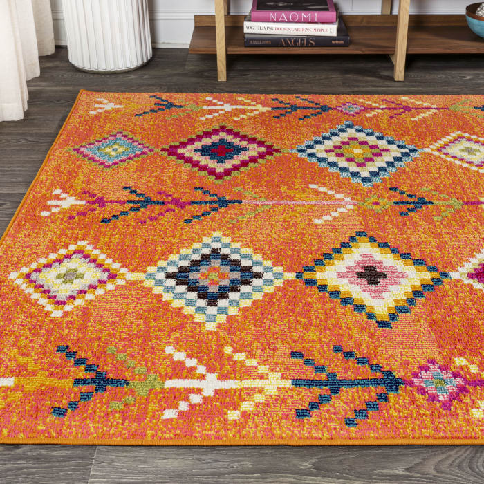 Tribal Love Geometric Orange/Multi Area Rug