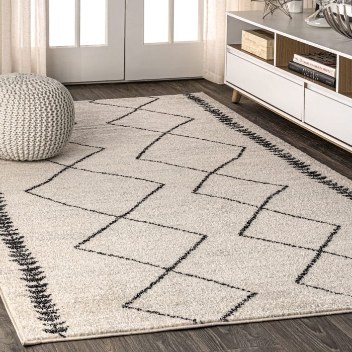 Moroccan Beni Souk Cream/Black Area Rug